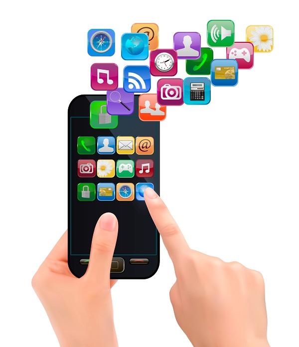 Foto de um celular repleto de aplicativos