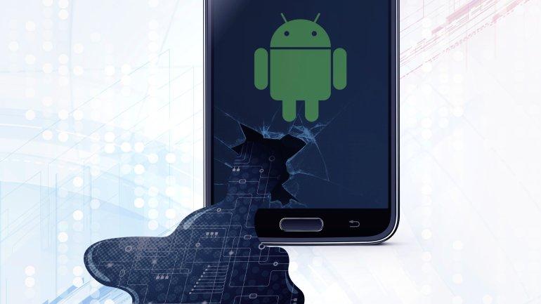 Imagem de um celular Android vazando dados