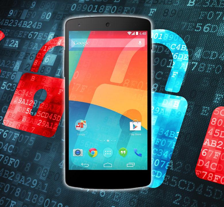 Imagem de um smartphone com cadeados abertos ao fundo com códigos de computador