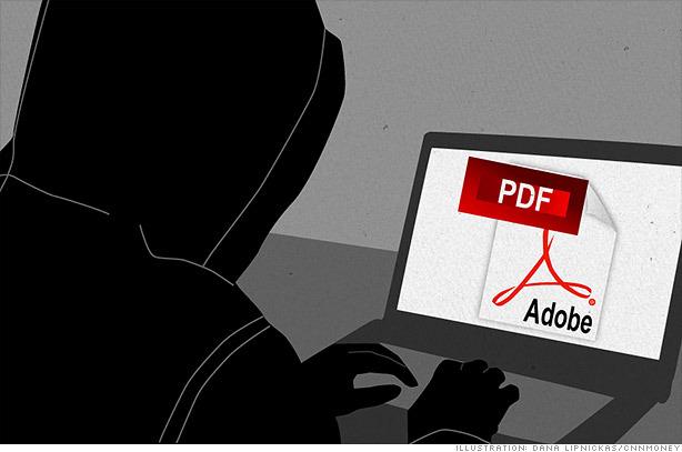 Imagem de um hacker acessando a Adobe